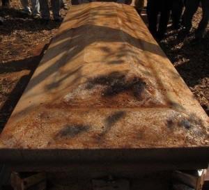 Exhumed original steel coffin
