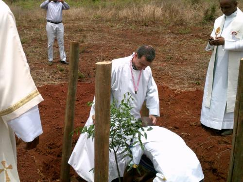 Bishop Joao planting a commemorative tree after the Mass
